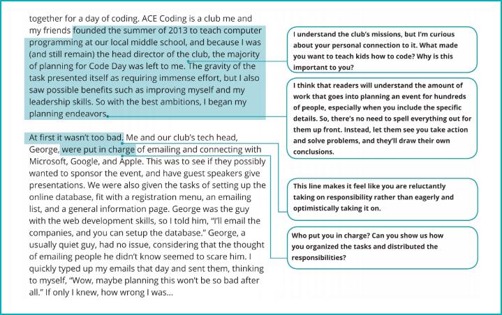 Get inline question-based feedback