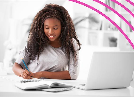 Girl writing essay